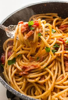 One of the most delicious and easiest pastas, pasta all'Amatriciana / anitalianinmykitchen.com