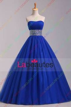 2015 Big Clearance Sale Prom Dresses Strapless A Line/Princess Pick Up Tulle Skirt USD 129.99 LPR7N1Z68 - Labeautes.com
