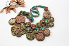 Earthy Flower Fiesta by rRradionica Textile Jewelry, Jewellery, Green Flowers, Fabric Art, Green And Purple, Handmade Necklaces, Hand Stitching, Earthy, Fiber Art