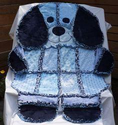 Patchwork Puppy Denim Quilt Rug