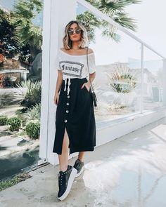 . T Shirt Designs, Amai, Black Sneakers, Midi Skirt, Hipster, Adidas, Instagram, Skirts, Artworks