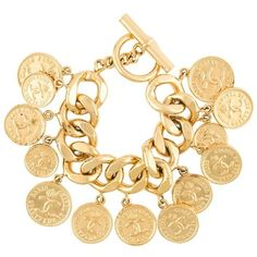 Chanel Vintage coin charm bracelet ($2,930) ❤ liked on Polyvore featuring jewelry, bracelets, metallic, chanel jewellery, vintage charm bracelet, gold plated jewelry, coin jewellery and chanel jewelry
