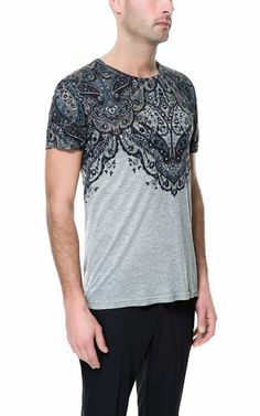 T-SHIRT WITH PAISLEY YOKE / via ZARA.