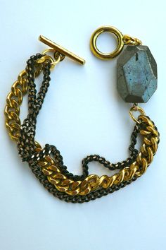 Gold curb chain & Pyrite Bracelet by oiajules on Etsy, $30.00