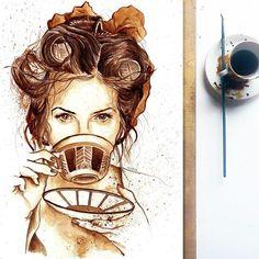 De Spaanse Nuria Salcedo drinkt niet alleen graag koffie, ze maakt er ook prachtige kunst van. Met de vloeibare koffie maakt ze prachtige portretten.