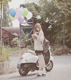 849b8c4f9 Motorcycle Types, Scooter Girl, Ulzzang, Bike, Womens Fashion, Girl Fashion,