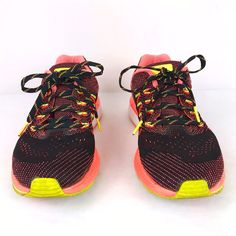 My Nike Air Vomero 10 Zoom Black Pink Running Shoe Sneaker Size 7.5 Mesh  Neon Laces 84b861f2c7f2
