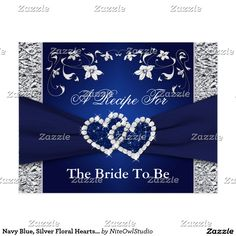 Navy Blue, Silver Floral Hearts Recipe Card