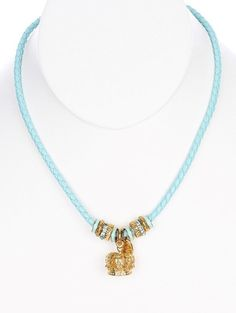 Necklace braided cord metal crown pendant cutout metallic ring bead crystal stone epoxy coat twisted textured 16 inch long 1 inch drop nickel and lead compliant. 16 inch long. Item number. Color.