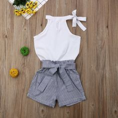 Momma Has It All New Two Piece Set Toddler Kids Baby Girls Clothes Sleevless White Tops Elastic Striped Shorts Outfits Summer 2019 Girls Summer Outfits, Dresses Kids Girl, Summer Shorts Outfits, Summer Fashion Outfits, Short Outfits, Toddler Outfits, Girl Outfits, Toddler Fashion, Kids Fashion Summer