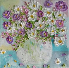 Wildflower Oil Impasto Painting Impressionistic Oil Floral