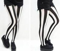 Black & White Stripes Pastel Goth Tights