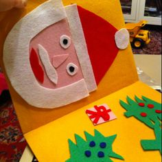 We are going on a road trip tomorrow and I need some fun car activities.  I took some felt and glued it to the inside of a file folder. Then I cut out different parts to Santa's face so my 3.5 year old can recreate him. For my 2 year old I cut out out different colored squares, triangles and circles. It took me about 30 minutes. Hopefully it will entertain them for much longer.