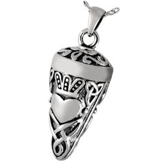 Silver Cremation Jewelry: Celtic Crown and Heart