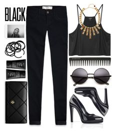 """Total Black"" by an-italian-brand ❤ liked on Polyvore featuring Abercrombie & Fitch, Monki, GHD, Kenneth Jay Lane, NARS Cosmetics, Tory Burch and H&M"