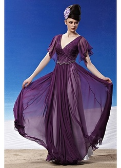 In Stock Fashionable A-line V-neck Full Length Purple Beaded Formal Dress  Homecoming 9a7dac30b