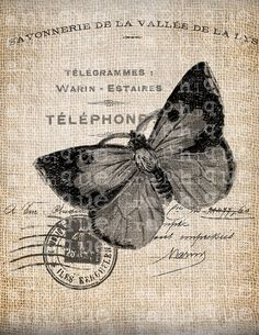 Antique French Butterfly Postmark 1800s Illustration Digital Download for Tea Towels, Papercrafts, Transfer, Pillows, etc No 7213 via Etsy