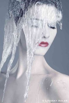 Ice Queen Nude Beauty Editorial shoot. Model wearing ice headpiece. Lindsay Adler Photography.