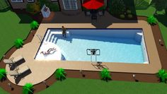 San Juan Pools newest model called the Great Lakes. 16'x37'x6'4″ deep one piece in ground fiberglass swimming pool. A large tanning shelf and seating in th…