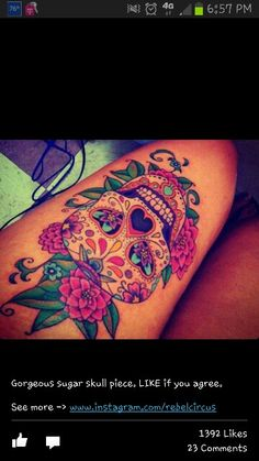 Gorgeous sugar skull.  I'll be getting two like this in comedy/tragedy style on my thigh.  Can't wait!