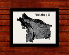 Portland Map Art City Print 18 x 24 by MrCityPrinting on Etsy, 28dol