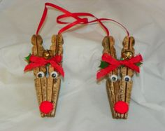 Clothespin Reindeer Christmas Ornament by CrazyCraftyClan on Etsy Reindeer Clothespin, Wooden Clothespin Crafts, Wooden Christmas Crafts, Christmas Ornament Crafts, Kids Christmas, Holiday Crafts, Reindeer Christmas, Reindeer Ornaments, Etsy Christmas