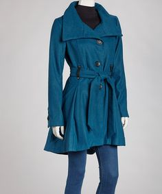 Take a look at this Teal Belted Jacket by Cold Snap: Women's Coats on @zulily today!