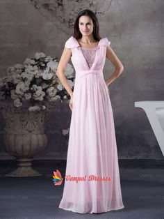 142.00$  Buy now - http://vipvz.justgood.pw/vig/item.php?t=q400bg1787 - Elegant Pink Cap Sleeve Floor-length Pleated Chiffon Prom Dresses With Beading