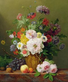 Still Life With Flowers And Fruit Painting
