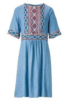 Embroidered Denim Dress. Trends Spring 2017