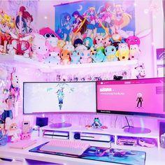 Decorating a Game Room Gaming Room Setup, Computer Setup, Pc Setup, Desk Setup, Cute Room Ideas, Cute Room Decor, Home Music, Kawaii Bedroom, Pastel Room