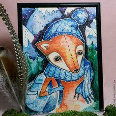 Лис- путешественник. Рисунок на холсте - рыжий,лиса,лис,лисенок,горы,лес