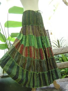 Woven Dyed Cotton Long Tiered Skirt  Green 0213 by fantasyclothes, $46.00