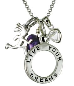 Live Your Dreams Charm Necklace includes a Live Your Dreams Circle Tag, Spirit Runner, Heart Crystal and amethyst gemstone on a Rolo Chain. $75