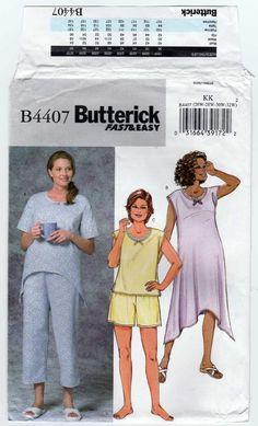 8735064e Butterick B4407 Women's Sleepwear Tops, Nightgown, Pants, Shorts Sewing  Pattern; Loose-