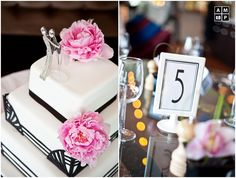 Art Deco wedding cake, click through for lots of great photos of a great example of a very modern Art Deco styled wedding