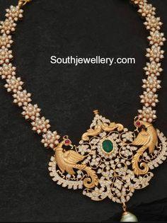 Pearl Haram with Peacock Pendant photo Mom Jewelry, Ruby Jewelry, Beaded Jewelry, Fine Jewelry, Sterling Jewelry, Statement Jewelry, Pendant Jewelry, Jewelry Necklaces, Indian Wedding Jewelry