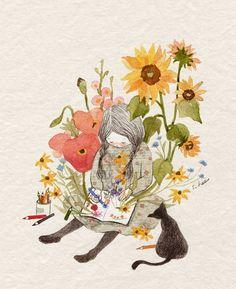 눈마저 오지 않는 차가운 겨울날엔 뒹굴거리며 책을 읽거나 그림을 그렸습니다. 작년에 우리 집 마당에 무슨무슨 꽃이 피었었더라.... 해마다 같은 꽃들이 같은 시기에 피어나 같은 시기에 지고 떨어지지만 꽃을 바라보며 아끼는 마음은 해가 갈수록 더 커져갔지요. 씨를 뿌리지 않아도 자연스레 싹이 트는 순둥순둥한 아이... 세심하게 땅을 고르고 씨앗을 뿌려 관리를 하고 지고나면 씨앗을 수확해놓아야 하는 조금은 까탈스러운 아이들까지... 하나하나 기억을 떠올려 그리다보니 나의 작은 방은 어느새 달콤한 봄의 향으로 가득 차 있었어요......