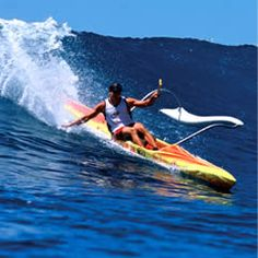 single outrigger canoe surfing - and flying the ama
