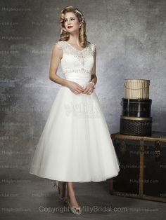 A-line V-neck Tulle Satin Tea-length Ivory Beading Wedding Dresses at Millybridal.com