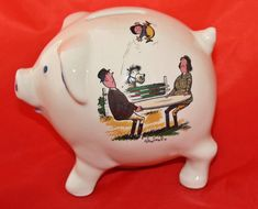 Thelwell , piggy bank,horses, equine, pony club,  made in England , cartoon , caricature, money box, vintage, pottery, Norman thelwell