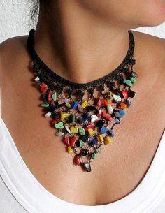 Black Crochet Bib Necklace Beaded Jewellery by aniesjewelry