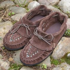 Women's Brown Genuine Cowhide Suede Leather Ankle-High Moccasin Shoes - 565