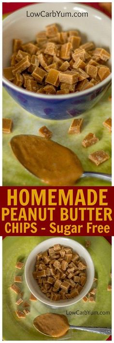 Frugal Food Items - How To Prepare Dinner And Luxuriate In Delightful Meals Without Having Shelling Out A Fortune Here's How To Make Your Own Homemade Sugar Free Peanut Butter Chips. These Homemade Peanut Butter Chips Are Perfect For Baking Or Snacking. Sugar Free Peanut Butter, Low Carb Peanut Butter, Homemade Peanut Butter, Peanut Butter Chips, Sugar Free Desserts, Sugar Free Recipes, Low Carb Recipes, Healthy Recipes, Diabetic Desserts