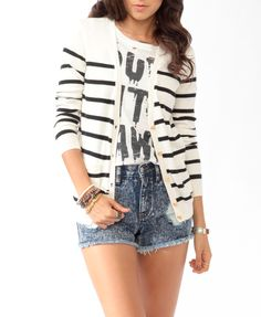 Striped Crest Button Cardigan | FOREVER21 - 2000049302