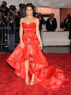 Jessica Biel in Versace at Met Gala 2009
