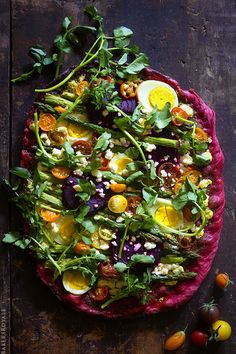 Beet Crust Pizza - Bakers Royale  Beets, Greens, Asparagus, Eggs & Whatever Else I want