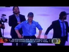 Jonathan Toews not so serious, dancing at center ice in Boston.  This is priceless!!