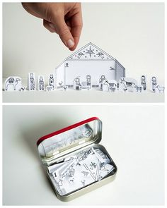 DIY Traveling Altoids TIn Printable Nativity Scene from Made by Joel here. For other easy DIYs and printables (circus, Paris, cats etc…...