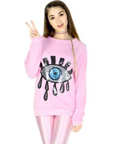 SEQUIN EYE SWEATER